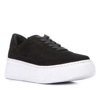 Tênis Couro Shoestock Recortes Nobuck Feminino