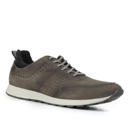 Tênis Couro Shoestock Running Básico Masculino - Cinza