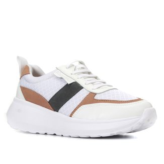 Tênis Couro Shoestock Sneaker Mix Materiais Feminino