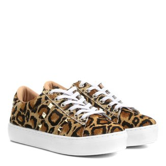 Tênis Couro Shoestock Spikes Onça Feminino