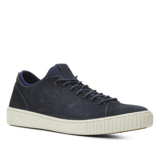 Tênis Couro Shoestock Stoned Básico Masculino - Azul