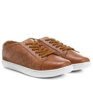 Tênis Couro Shoestock Vazado Feminino