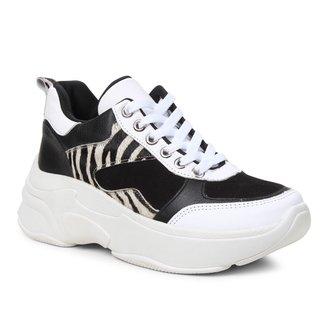 Tênis Shoestock Couro Zebra Chunky